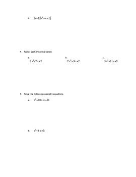 Algebra 1 Module 4 Test