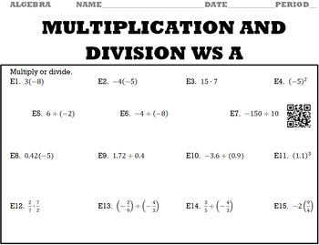 Algebra 1:  Multiplication and Division WS A and WS B with Keys/QR Codes