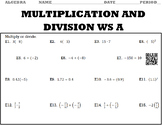 Algebra 1:  Multiplication and Division WS A and WS B with