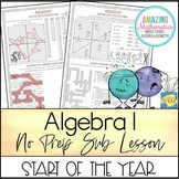 Algebra 1 No Prep Sub Lesson / Substitute Teacher Activity - Start of The Year