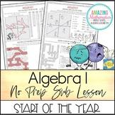 Algebra 1 No Prep Sub Lesson / Substitute Teacher Activity - Start of The Year