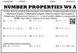 Algebra 1:  Number Properties WS A and WS B with Keys/QR Codes