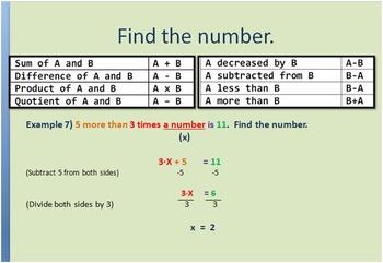 Algebra 1 Number problems Complete slide shows, Worksheet