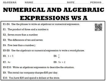 Algebra 1:  Numerical and Algebraic Expressions WS A and WS B with Keys/QR Codes