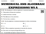 Algebra 1:  Numerical and Algebraic Expressions WS A and W