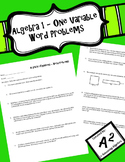 Algebra 1 - One Variable Equation Word Problems