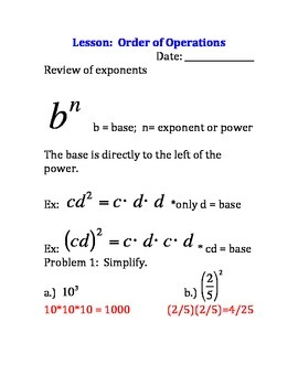 Algebra 1 Order of Operations Guided Notes