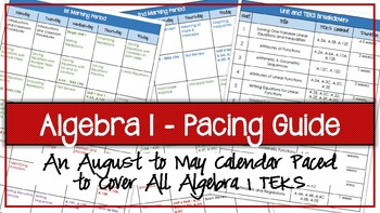 Algebra 1 Pacing Guide