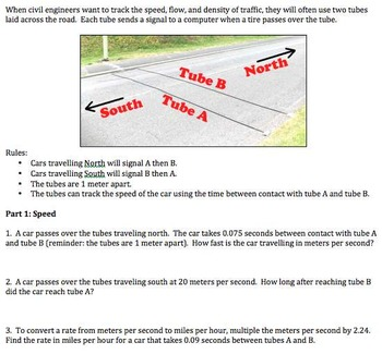 Algebra 1 - Performance Task - Traffic Study Project - Common Core