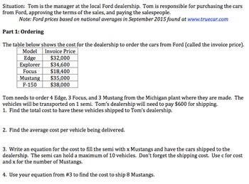 Algebra 1 Performance Task on Running a Car Dealership (Common Core -6pgs)