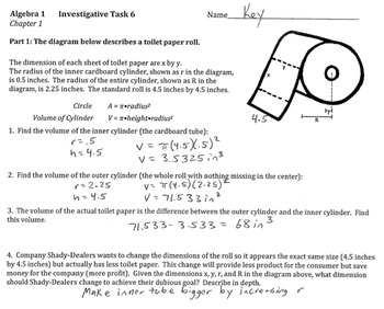 Algebra 1 Performance Tasks for CH 1 (18 pages, Common Core)