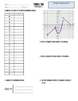 Algebra 1 Piecewise Drill & Homework