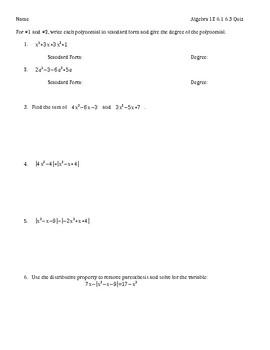 Algebra 1 Polynomial Quiz