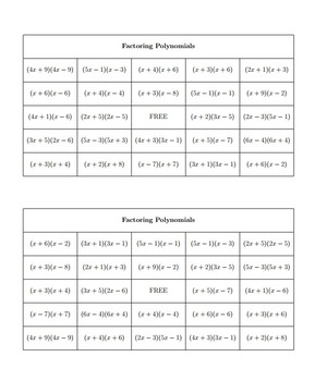 Bingo Algebra - Polynomials