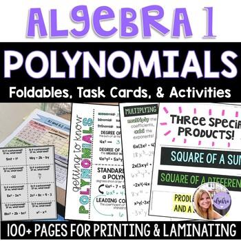 Algebra 1 - Polynomials Foldable and Task Card Bundle