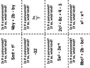 Algebra 1 - Polynomials - Standard Form, Adding, Subtracting Task Cards - 3 Sets