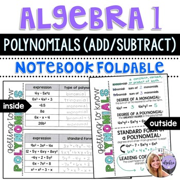 Algebra 1 - Polynomials - Type, Degree, Standard Form Foldable