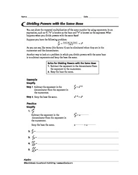 Algebra 1: Powers and Rational Expressions