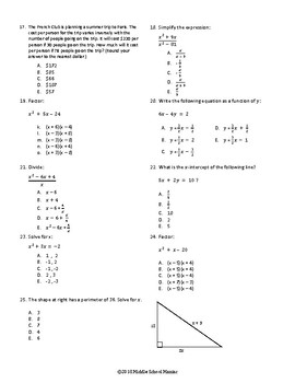 Algebra 1 Practice Coloring Puzzle