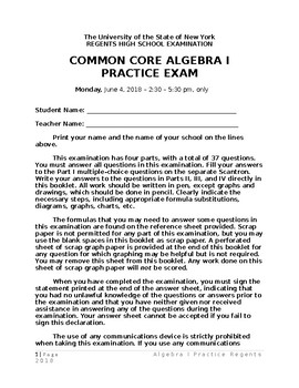 Algebra 1 Practice REGENTS (never given by the STATE)