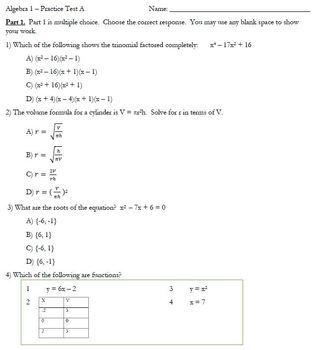 Algebra 1 - Practice Test A