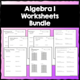 Algebra 1 Practice Worksheets *Growing Bundle
