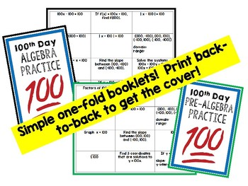 Algebra 1 & Pre-Algebra 100th Day of School Math Activities
