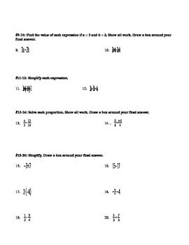 Algebra 1 Pre-Test EDITABLE