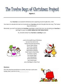Algebra 1 Project The Twelve Days of Christmas