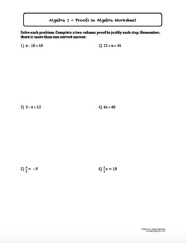 Proofs in Algebra (Lesson Plan with Homework)