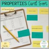 Algebra 1 Properties Differentiated Card Sort Activity