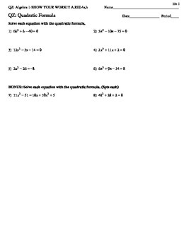 Algebra 1-Quadratic Formula Quiz with Bonus Questions