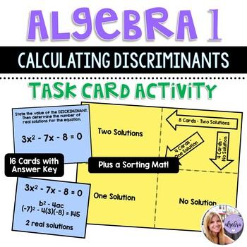 Algebra 1 - Quadratic Functions - Finding the Discriminant - Task Cards