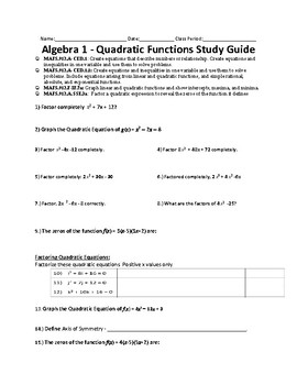 Algebra 1 - Quadratic Functions Study Guide, Test and Answer Key