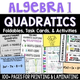 Algebra 1 - Quadratics Graphing, Vertex Form, Formula, Foldable Task Card Bundle