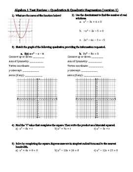 Algebra 1 Quadratics/Quadratic Regression Review Worksheet