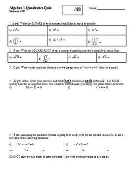 Algebra 1 Quadratics Quiz Summer 2002 (Editable)