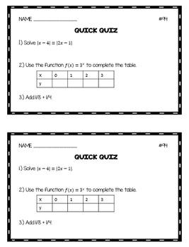 Algebra 1 Quick Quizzes: Volume 2