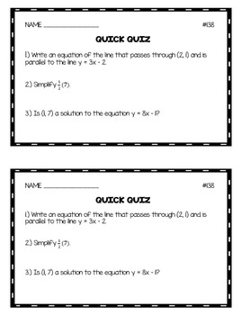 Algebra 1 Quick Quizzes: Volume 3