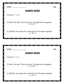 Algebra 1 Quick Quizzes: Volume 4
