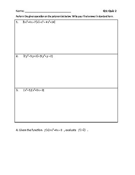 Algebra 1 Quiz 2 with Review