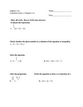Algebra 1 Quiz