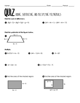 Multiplying Polynomials Quiz Worksheets & Teaching Resources ...