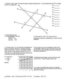 Algebra 1 Quiz: Area, Perimeter, Angles, Proportions, Percents, Spring 2008
