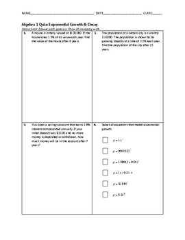 Algebra 1 Quiz - Exponential Growth and Decay BUNDLE