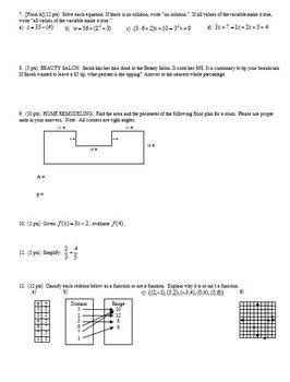 Algebra 1 Quiz: Expressions and Functions, 2 versions, 2 pages each, Fall 2010