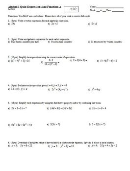 Algebra 1 Quiz: Expressions and Functions, 2 versions, 2 p