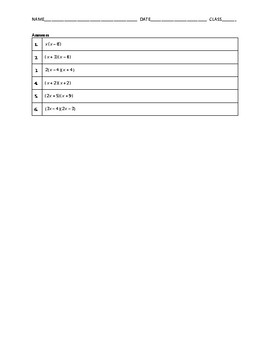 Algebra 1 Quiz - Factoring Quadratic Expressions BUNDLE