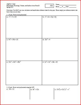 Algebra 1 Quiz: Factoring, Volume, Surface Area, Spring 2012, two versions