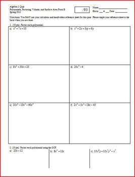 Algebra 1 Quiz: Factoring, Volume, Surface Area, Spring 20